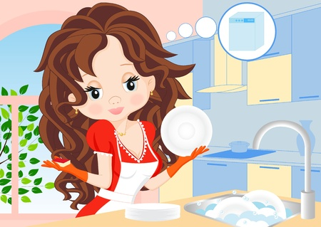 woman in a red dress in the kitchen washes dishes and dreams Vector