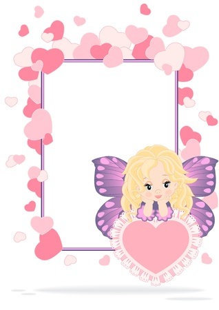 greeting card with fairy and hearts to various holidays Vector
