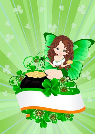 irish woman: Greeting card for the holiday St  Patrick Illustration