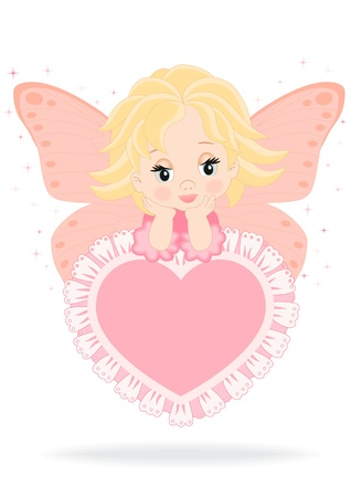 magical fairy sitting on a pink heart isolated on white background Vector