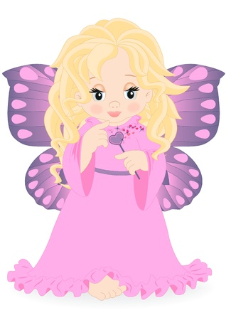magic fairy in pink dress isolated on white background Vector