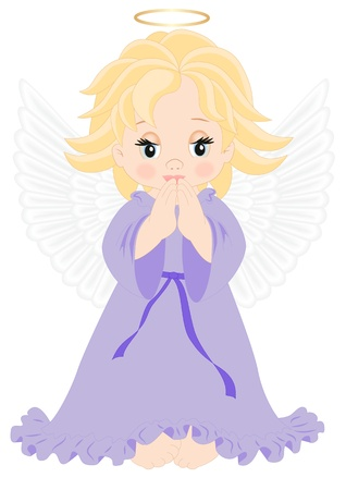 heavenly angel: little angel in purple dress isolated on white background