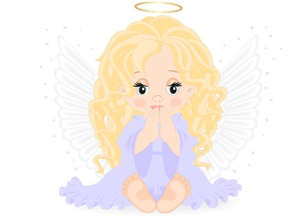little angel in purple dress isolated on white background Vector