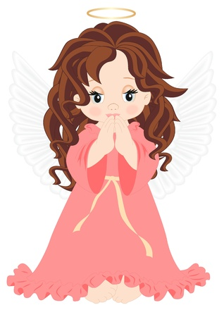 angel girl: little angel in pink dress isolated on white background