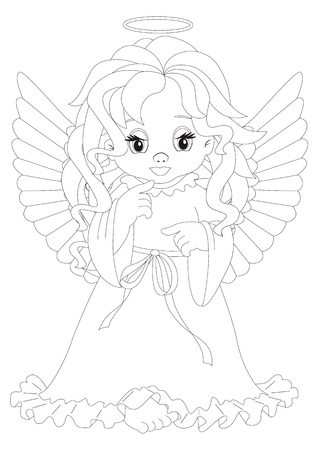 Coloring page angel sitting in front of pink hearts isolated on white background Vector