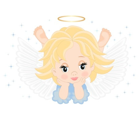 angel birthday: little angel in blue dress isolated on white background Illustration