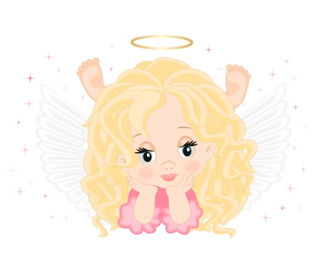 little angel in pink dress isolated on white background Vector