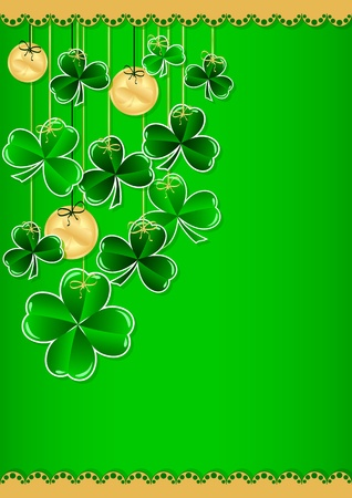 Greeting Card St. Patricks Day with clover Vector