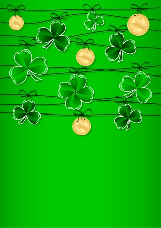Greeting Card St. Patrick's Day with clover Vector