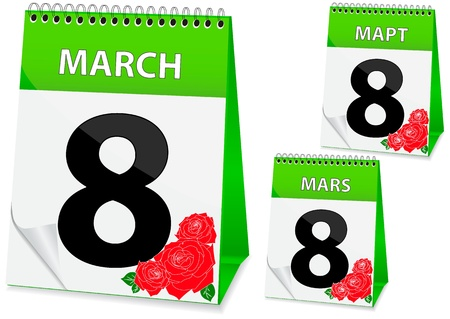 march 8: icon in the form of a calendar for womens day on March 8