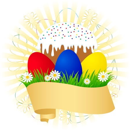 Easter cake and painted eggs on green grass Vector