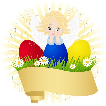 little angel and painted eggs on green grass Vector