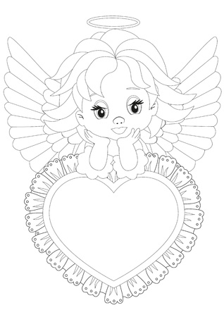 Coloring page Angel sitting on a heart Vector