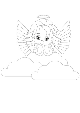 heavenly angel: Coloring page little angel in white clouds