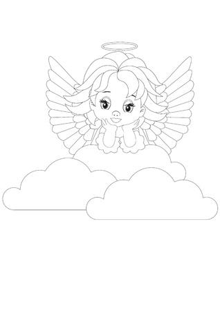 Dibujo para colorear peque�o �ngel en las nubes blancas Vectores