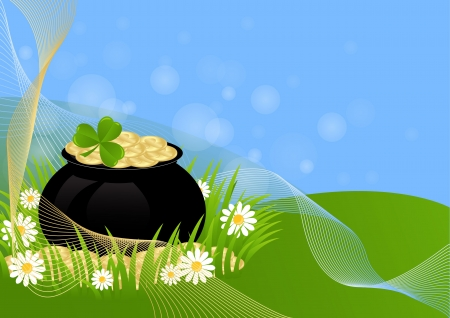 greeting card with clovers and pot of gold St. Patrick's Day Stock Vector - 18243870