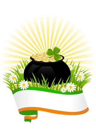 greeting card with clovers and pot of gold St. Patrick's Day Stock Vector - 18243884