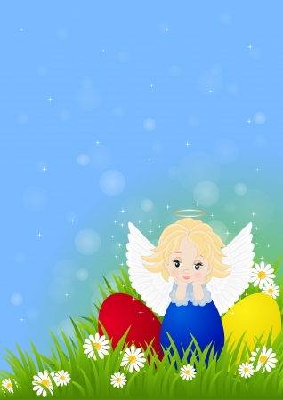greeting card for Easter with little angel and painted eggs Vector