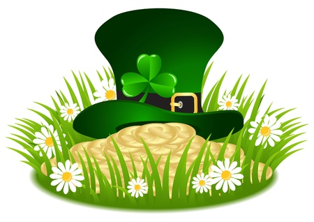 Greeting Card St. Patrick's Day with clover and golden coins Vector