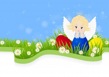 greeting card for Easter with little angel and painted eggs Stock Vector - 18243889