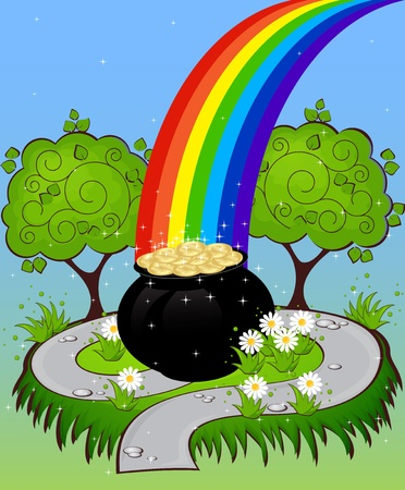greeting card with clovers and pot of gold St. Patrick's Day Stock Vector - 18243894