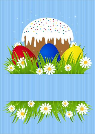 greeting card for Easter with Easter cake and painted eggs on green grass Vector
