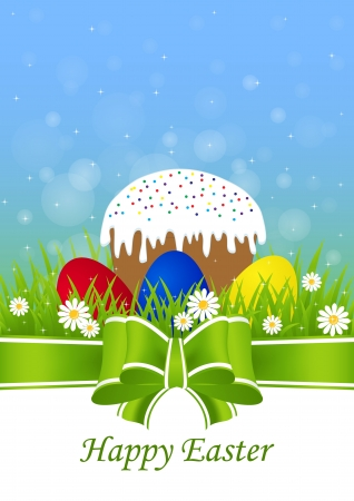 easter cake: greeting card for Easter with Easter cake and painted eggs on green grass