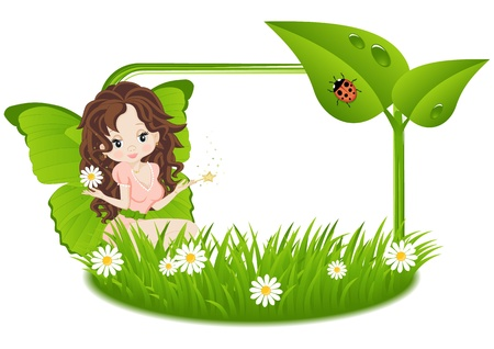 greeting card with a fairy and a place for text on the various holidays Vector