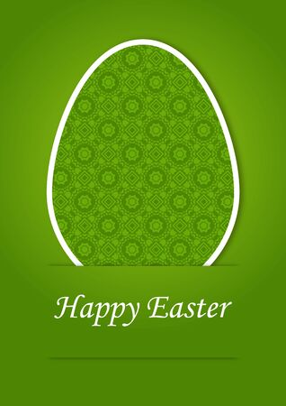 greeting card for Easter with Easter eggs on a green background Vector