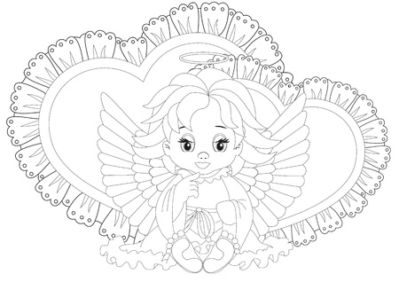 angel sitting in front of hearts isolated on white background Illustration