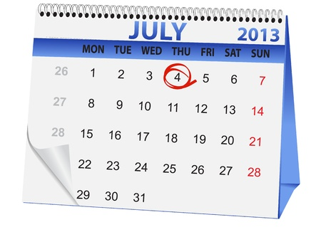 icon in the form of a calendar for Independence Day on July 4 Vector