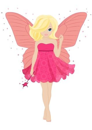 hada m?ca poco en un vestido de color rosa con una varita m?ca Vectores