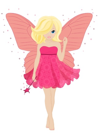 cartoon butterfly: magical little fairy in a pink dress with a magic wand Illustration
