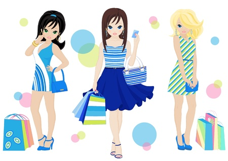 woman credit card: three fashion shopping girls with shopping bags Illustration