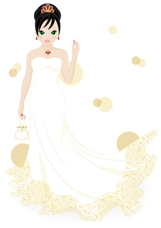 girl in a white dress isolated on white background Vector