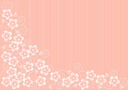 abstract pink background with white flowers and leaves Stock Vector - 19981655