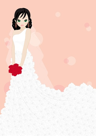 rose: girl in a white dress isolated on pink background
