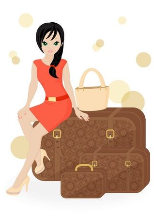 girl traveler sitting on a suitcase isolated on white background Vector