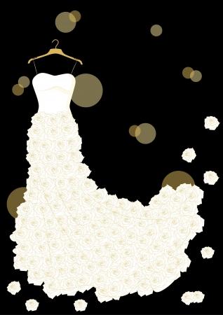 vestido de novia blanco con rosas en la percha