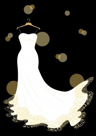 white wedding dress on the hanger Vector