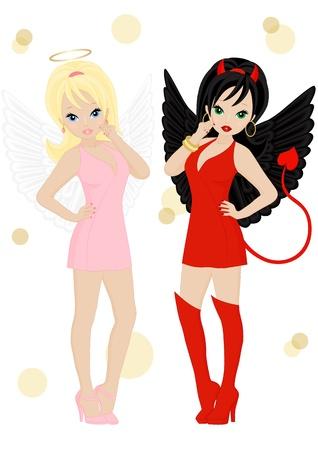 Ангел и дьявол в женском обличье на белом фоне