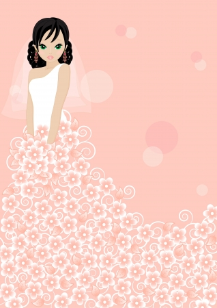 girl in a flower dress on pink background Vector