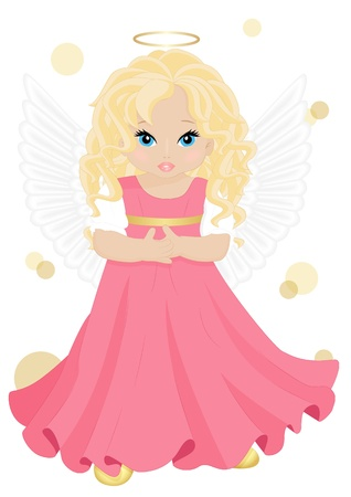 little angel in pink dress isolated on white background