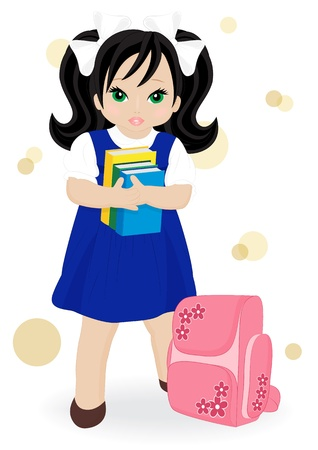 schoolgirl in blue dress with books and school bags