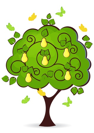 pear tree with yellow ripe fruit butterflies fly around Illustration