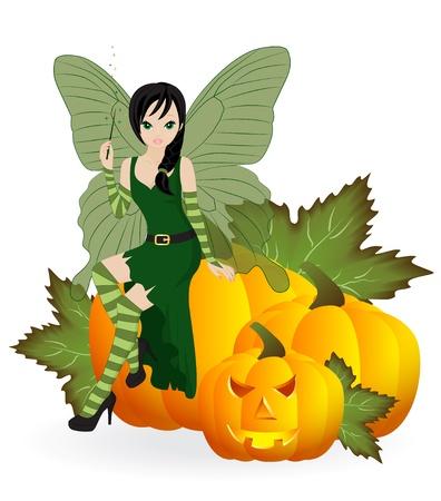 Fée d'automne dans la robe verte est assis sur une citrouille