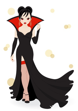 sexy devil: vampire girl in a long black dress isolated on white background