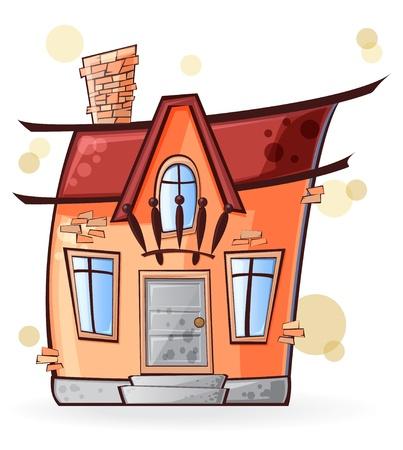 casa de dibujos animados con las ventanas y la puerta aislada en el fondo blanco Vectores