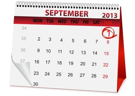 september 1: icon in the form of a calendar for September 1