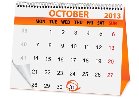 october 31: icon in the form of a calendar for Halloween Illustration
